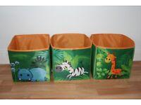 Jungle Animal Storage Boxes x3