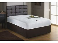 Double divan bed with diamante headboard and mattress