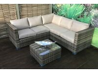 Homeflair Rattan Garden Furniture Georgia Nature Dining Table Compact Corner Sofa Set £549