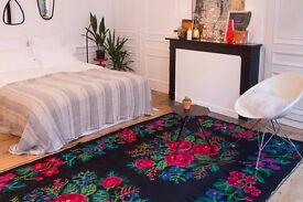 Vintage floral oversized kilim rug