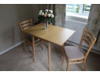 Drop leaf dining table and 2 chairs