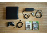 Xbox 360 S - All Cables - Controller - GTA V + CoD Advanced Warefare