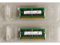 Laptop RAM: M471B5273DH0-CH9 (pair of chips), Samsung DDR3 SDRAM, 2x4GB (8GB pair), 1333MHz