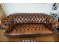 LEATHER CHESTERFIELD 3 SEATER SOFA AND ARMCHAIR TAN COLOUR IN EXCELLENT CONDITION