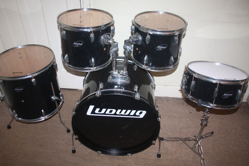 Ludwig accent black 5 piece drum kit 22 in bass drums for 13 inch floor tom