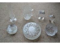 SELECTION OF 7 ASSORTED CUT GLASS ITEMS ALL IN VERY NICE CONDITION