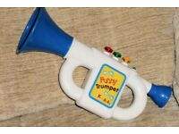 Vintage K for Kids Battery Operated Trumpet Toy, Plays Knick-Knack Paddy Whack Tune, Histon