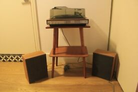 Vintage 1970s RECORD PLAYER with SPEAKERs, working order, with cover, stacks 6-8 discs