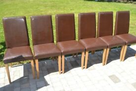 6 dining room chairs dark brown with oak legs