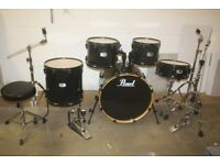 Pearl Export EX Series Black Full 5 Piece Drum Kit (22in Bass) + All Stands + Stool + Cymbal Set