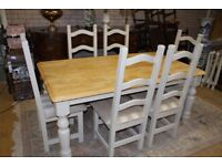 shabby chic 6ft farmhouse table and six chiars