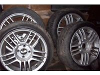 """15"""" alloy wheel with 195 45 15 low profile tyres 4 by 100 vauxhall, toyota, nissan,honda,mitsubishi"""