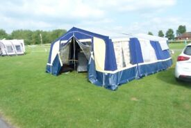 trailer tent awnings complete with doors,poles and curtains,good condition,grey and blue 16ftX14ft