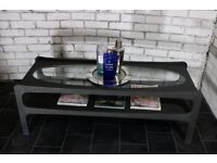 Gorgeous retro sofa coffee table with oval glass display