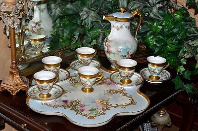 Limoges Rose Chocolate Set: Pot, Cups & Saucers and Huge Matching Serving Tray
