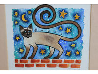 Vintage Watercolour Painting of Funky Cat on Wall. Sasha Picture Art