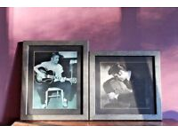 Elvis Presley Professionally Framed & Mounted B & W Pair - Black & Silver x 2