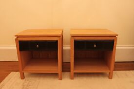 Oak veneer bedside tables x2