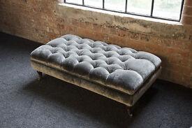 Beuatiful deep buttoned velvet banquette footstool covered in £85 per metre velvet brass castor legs