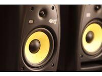 KRK Rokit RP8 G2 speakers with stands