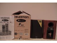 Celestion F10 2-way Bookshelf Speakers in Dark Apple Wood. In excellent condtion