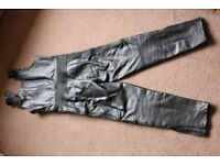 bib and brace leather trousers