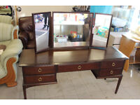 Dark wood dressing table with mirrors
