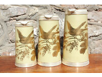 Stunning Set 3 Victorian Graduating Jugs 1880's Charles Barlow Bird Flowers Gilded Antique Vintage