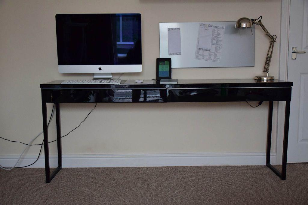 high gloss black desk ikea besta burs in nuneaton
