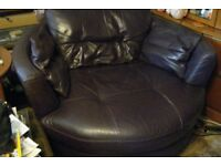 Leather cuddle chair