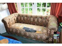 Heals Vintage 1970s Chesterfield Sofa needs re-upholstering