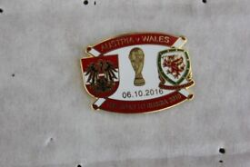 AUSTRIA V WALES ENAMEL FOOTBALL BADGE Oct 2016 World Cup Qualifier Choice of TWO £2.75 each