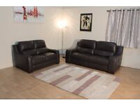 POLO DIVANI Volturno brown leather electric 3 seater and standard 2 seater sofa