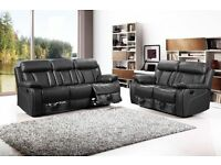 ***VANCOUVER BLACK NEW LEATHER SOFAS RECLINER***