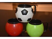 3 Colourful and Robust Cups with Sports Design - Kids love them!