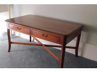 Bradley yew coffee table, with drawers, vintage.