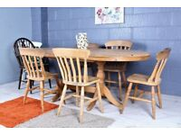 DELIVERY OPTIONS - RUSTIC SHABBY CHIC EXTENDABLE FARMHOUSE PINE TABLE & 6 CHAIRS INCL 1 CARVER