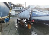13ft open boat and road trailer,orkney,see pics,strong grp beaching boat