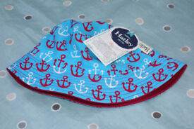 Hatley Sun Hat, 2-4 years small, NEW with tags, Reversible Anchor Pattern