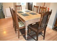 Antique pine dining table and 6 chairs