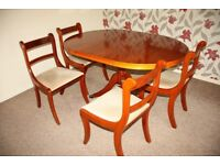Yew Wood Dining Room Suite Table & 4 Chairs