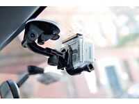 Suction Cup Car Mount for GoPro and other cam SJcam and xiaomi Yi + Safety Tether and carry Bag