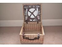 Two person wicker picnic basket as new