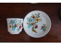 4 Vintage Retro Cups and Saucers Birds of Paradise Arklow Pottery Ireland Kitchenware Irish Trio