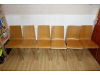 6 Kitchen Chairs: Real Wood with Chrome Legs (Collect in Camden Town).