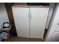 2x office stationery cupboards & shelving unit