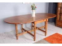 DELIVERY OPTIONS - 7 FT SOLID PINE EXTENDING GATELEG TABLE SEATS 8