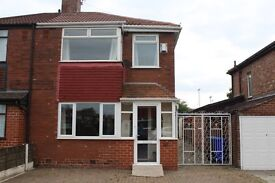 2 bed house, part furnished, with large kitchen diner and direct access to East Didsbury tram stop