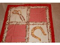 Ladies Red and White Patterned Scarf
