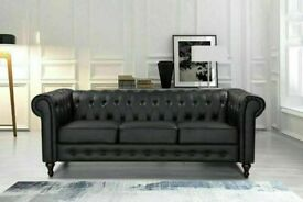 🔵💖SUPERB QUALITY🔵🔴CHESTERFIELD PU LEATHER SOFA 3 SEATER-CASH ON DELIVERY